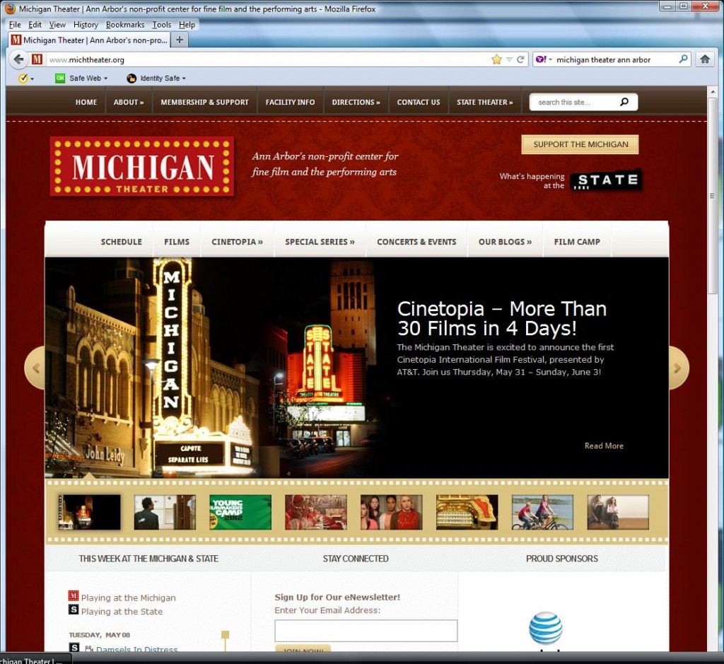 Michigan Theater web site, May 8, 2012