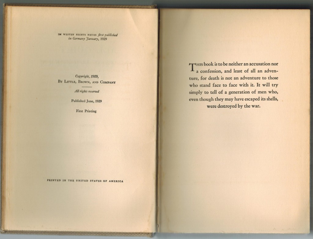 All Quiet on the Western Front, Book Copyright and Preface (1929 Edition)