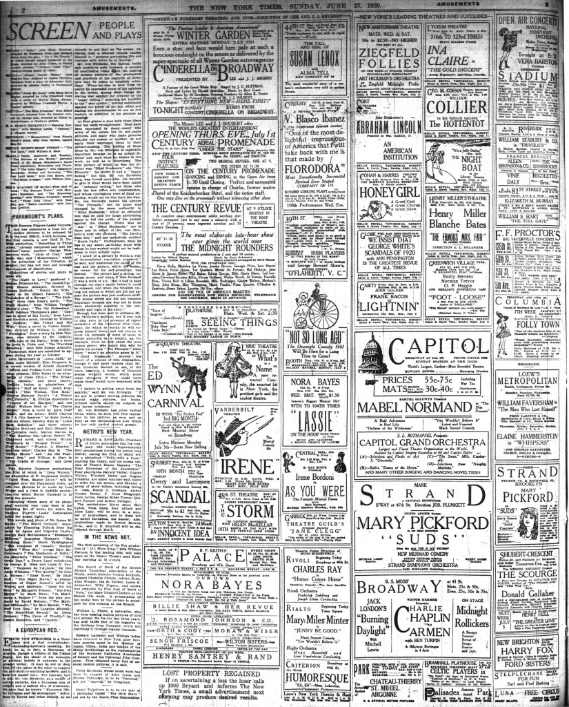 New York Times, June 27, 1920