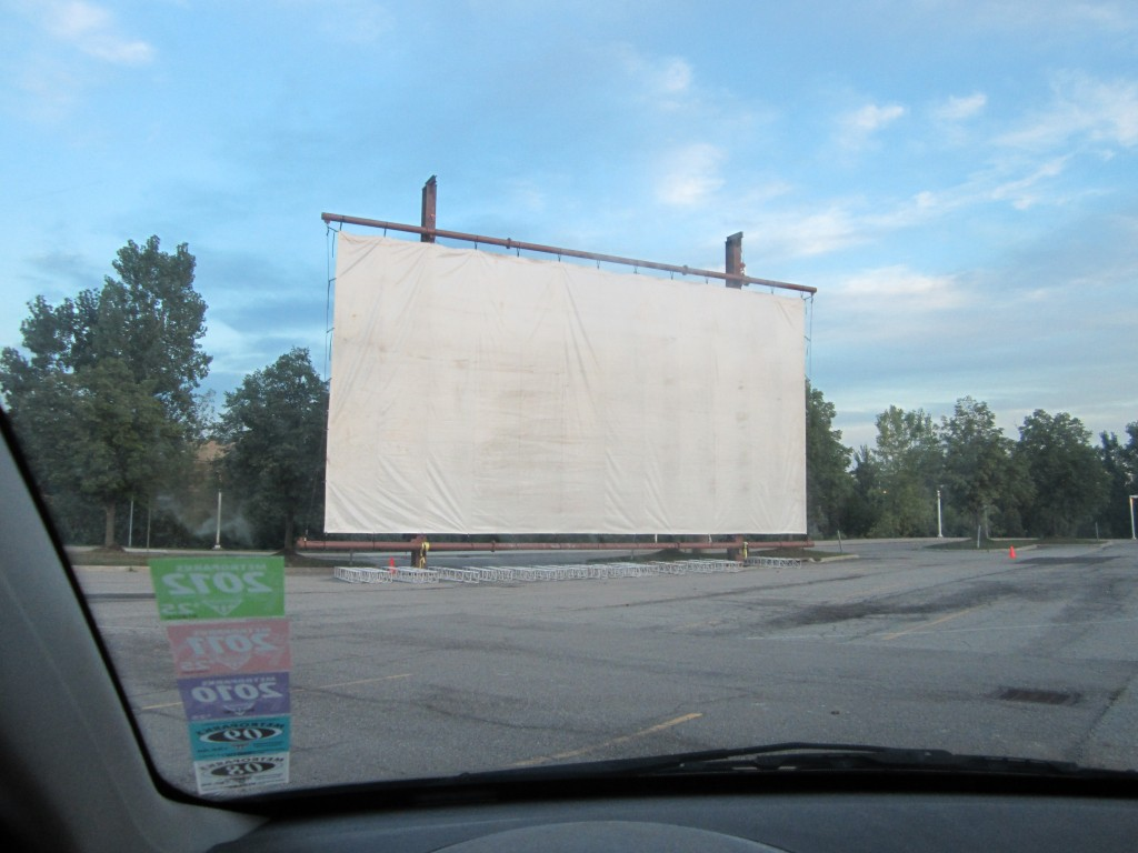 Compuware Drive-In Theatre, August 28, 2014 (driver's seat view)