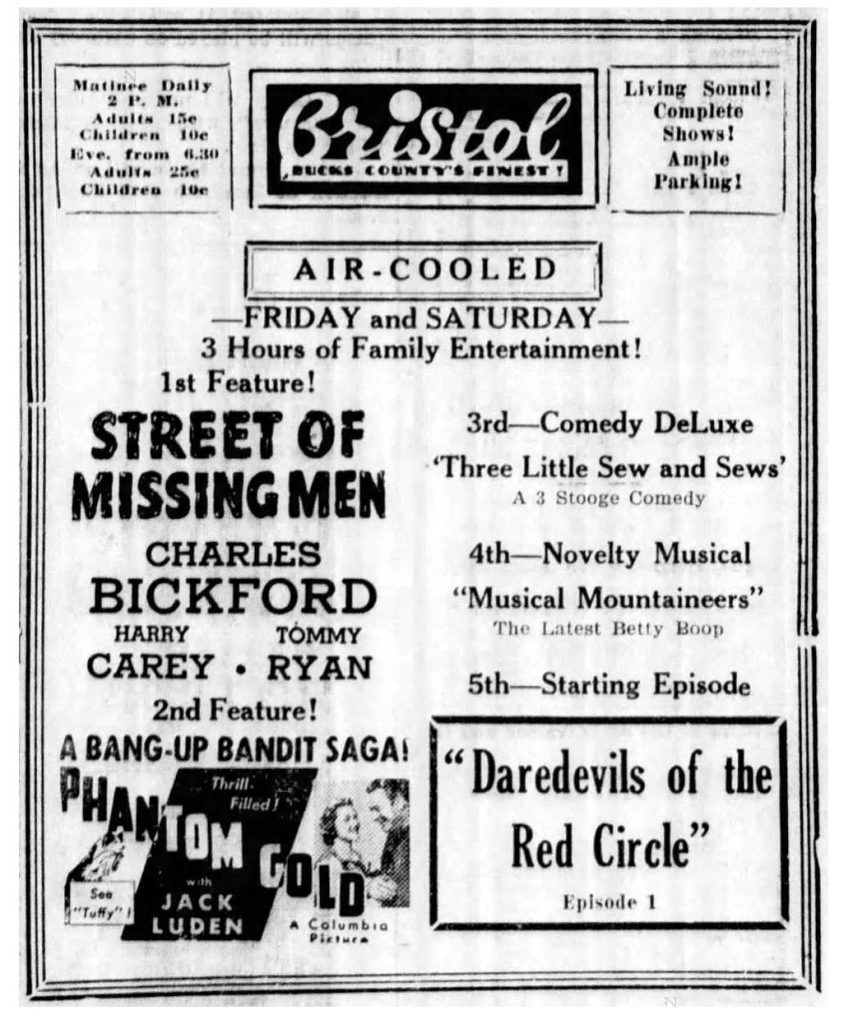 Bristol (Pennsylvania) Daily Courier, July 7, 1939 (Newspapers.com)